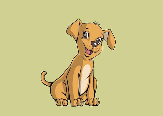 Как нарисовать мультяшного щенка - Раскрасьте его.