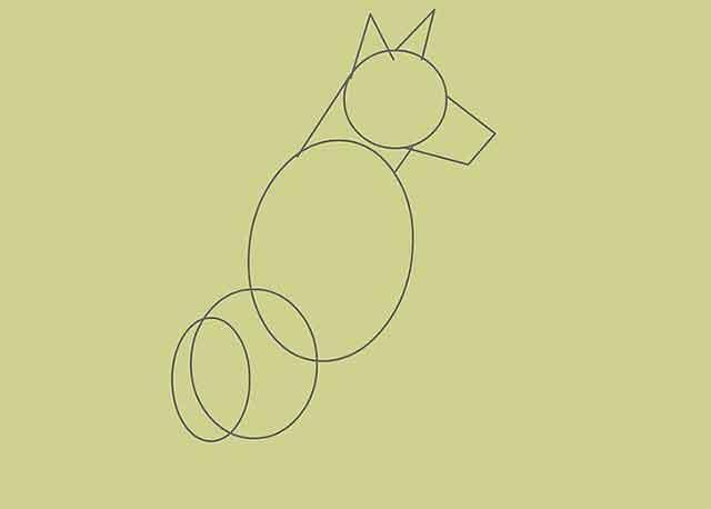 Как нарисовать собаку - Этот овал будет нижней частью спины собаки.