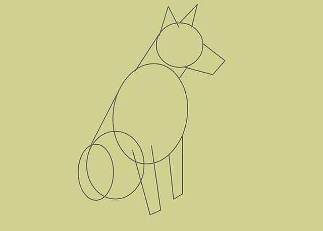 Как нарисовать собаку - Эти линии будут составлять передние ноги.