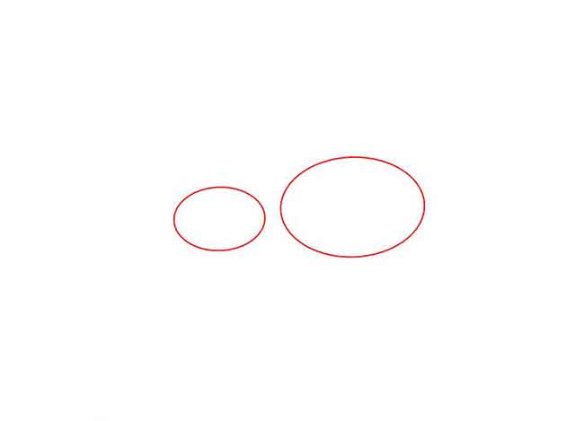 Как нарисовать добермана - Нарисуйте 2 горизонтальных овала рядом