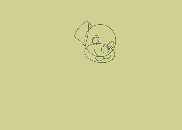 Как нарисовать мультяшного щенка - Используйте линии свободной формы, чтобы нарисовать уши щенка.