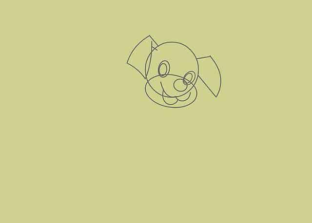 Как нарисовать мультяшного щенка - Нарисуйте второе ухо на другой стороне головы.