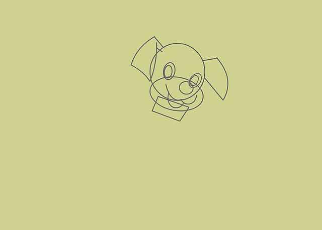 Как нарисовать мультяшного щенка - Добавьте горизонтальный прямоугольник под большим овалом.