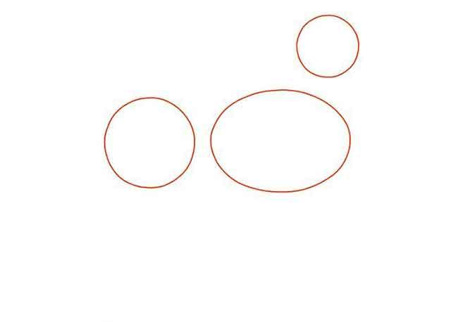 Как нарисовать мультяшную взрослую собаку - Нарисуйте 2 круга и горизонтальный овал.