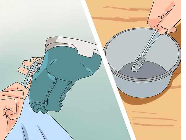 Смочите зубную щетку в приготовленной смеси и очистите всю обувь.