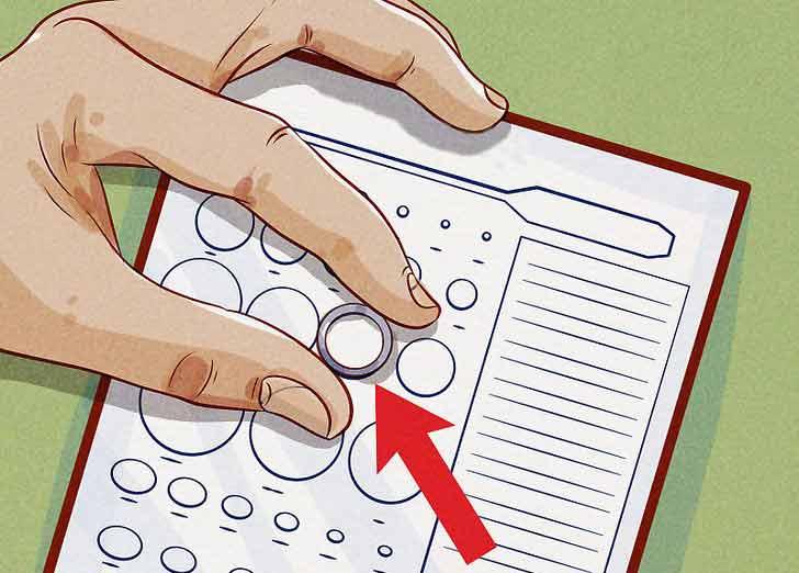 Как узнать размер кольца на палец - Поместите кольцо которое у вас есть на круги