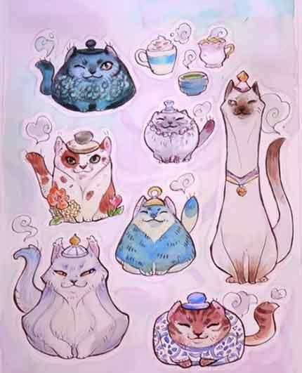 Срисовка Коты-чайники