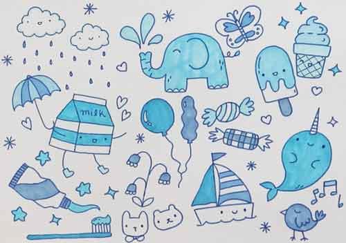 Срисовка для начинающих художников в синих тонах