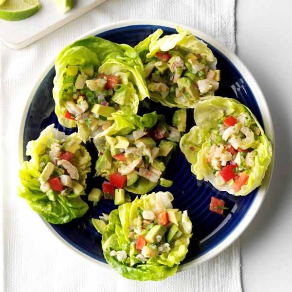 Салат ПП с креветками и авокадо