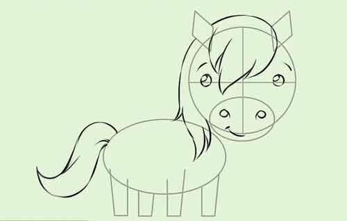 Рисуем мультяшную лошадку поэтапно 7