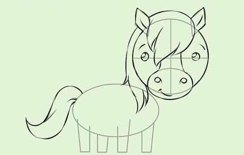 Рисуем мультяшную лошадку поэтапно 8