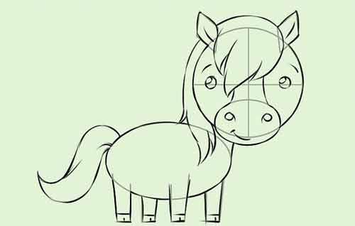Рисуем мультяшную лошадку поэтапно карандашом 9