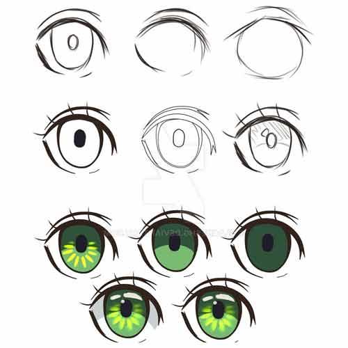 Как рисовать цветные аниме глаза поэтапно