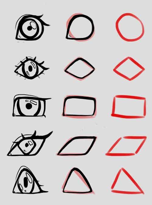 Аниме глаза разной формы для начинающих