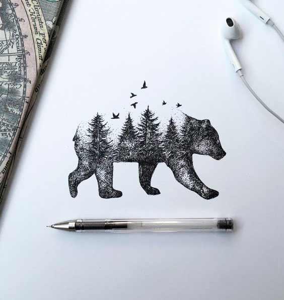 Срисовка Медведь