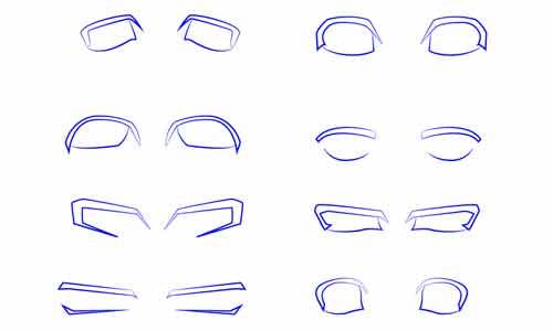 8 форм мужских глаз аниме поэтапно шаг 1