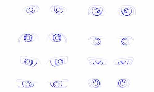 8 форм мужских глаз аниме поэтапно шаг 2
