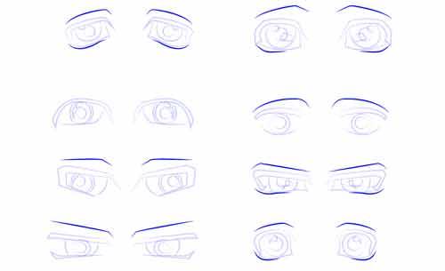 8 форм мужских глаз аниме поэтапно шаг 3
