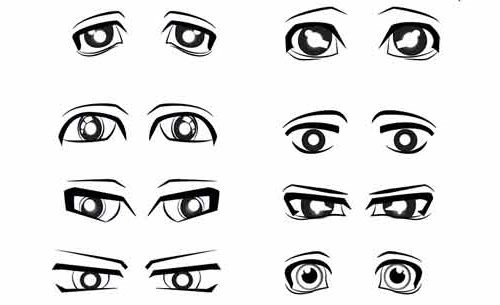 8 форм мужских глаз аниме поэтапно шаг 4