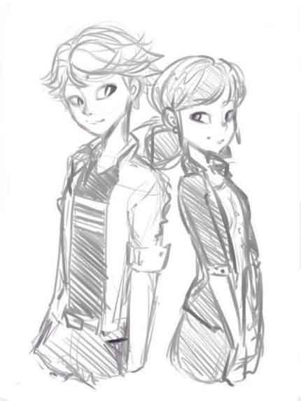 Мальчик и девочка карандашом