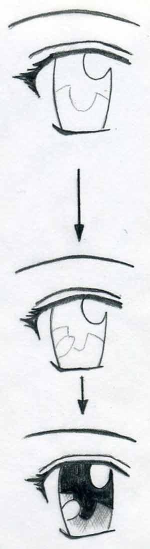 Простой урок как рисовать аниме глаза 1