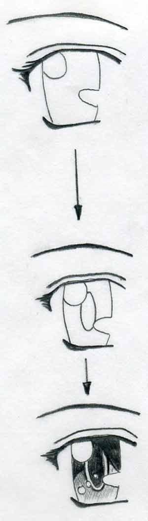Простой урок как рисовать аниме глаза для начинающих 2
