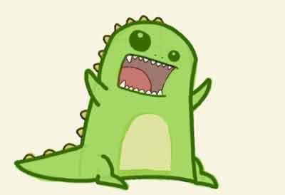 Динозавр в стиле кавай 9