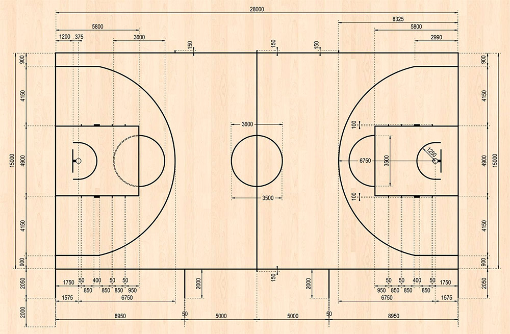 Точные размеры баскетбольной площадки