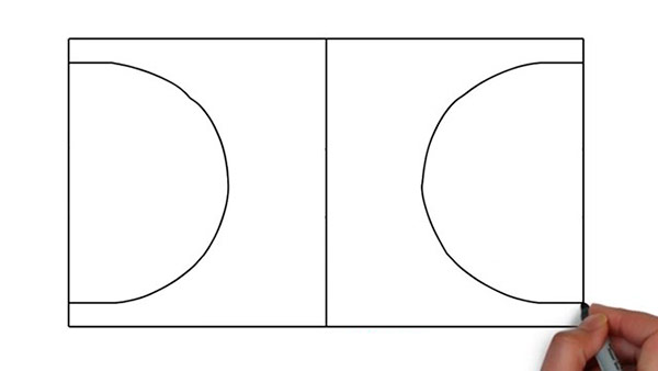 Как нарисовать баскетбольную площадку - Шаг 3