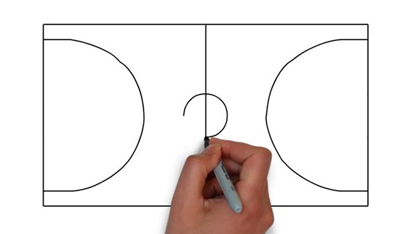 Как нарисовать баскетбольную площадку - Шаг 4