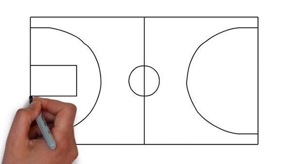 Как нарисовать баскетбольную площадку - Шаг 5
