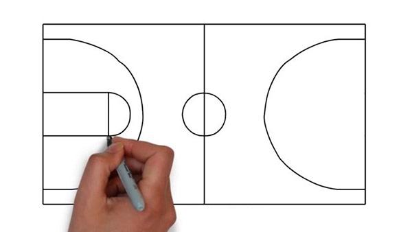 Как нарисовать баскетбольную площадку - Шаг 6
