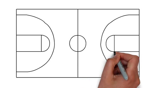 Как нарисовать баскетбольную площадку - Шаг 7
