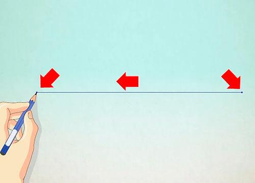 Рисуем объемный дом - Шаг 1 - Нарисуйте горизонтальную линию