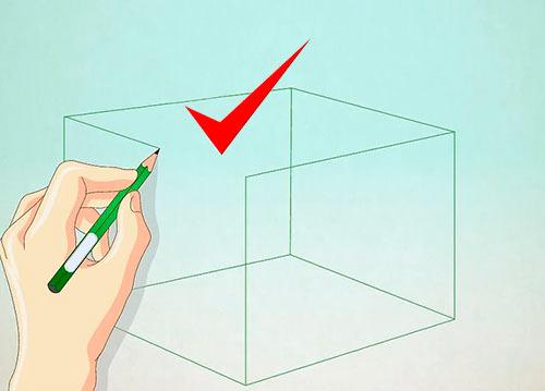 Объемный дом из куба - Шаг 1 - Нарисуйте куб