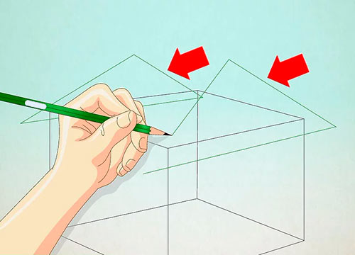 Объемный дом из куба - Шаг 2 - Нарисуйте два треугольника