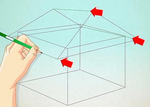 Объемный дом из куба - Шаг 3 - Соедините стороны треугольника