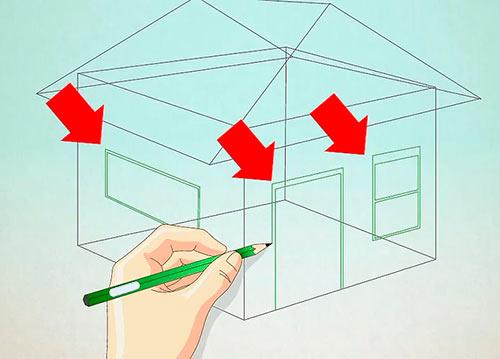Объемный дом из куба - Шаг 4 - Нарисуйте дверь и окна