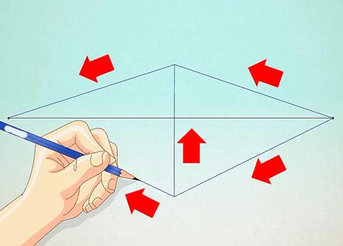 Рисуем объемный дом - Шаг 2 - Нарисуйте вертикальную линию