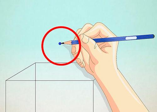 Объемный дом из квадрата - Шаг 4 - Нарисуйте точку над кубом