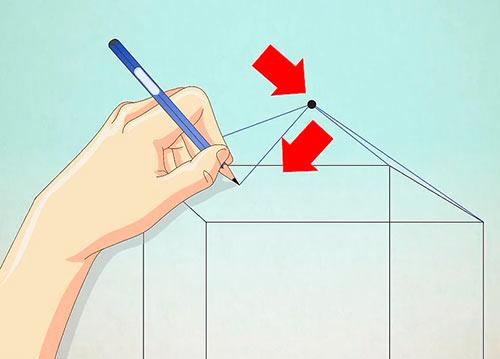 Объемный дом из квадрата - Шаг 5 - Соедините верхние углы куба с точкой
