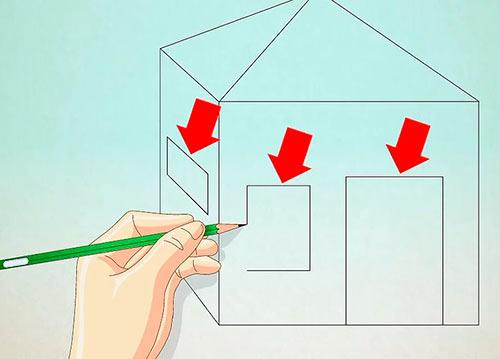 Объемный дом из квадрата - Шаг 7 - Нарисуйте дверь и окна