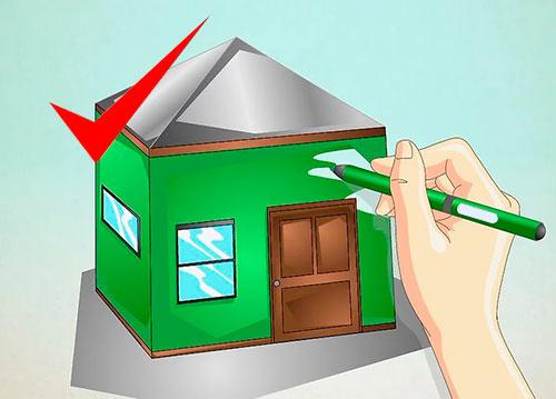 Объемный дом из квадрата - Шаг 8 - Раскрасьте дом