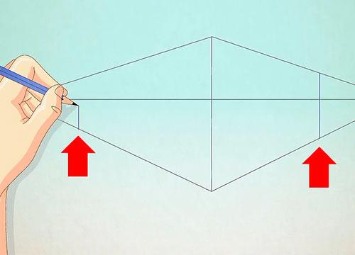 Рисуем объемный дом - Шаг 3 - Добавьте по одной вертикальной линии с каждой стороны