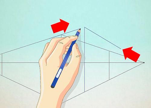 Рисуем объемный дом - Шаг 5 - Нарисуйте две наклонные линии