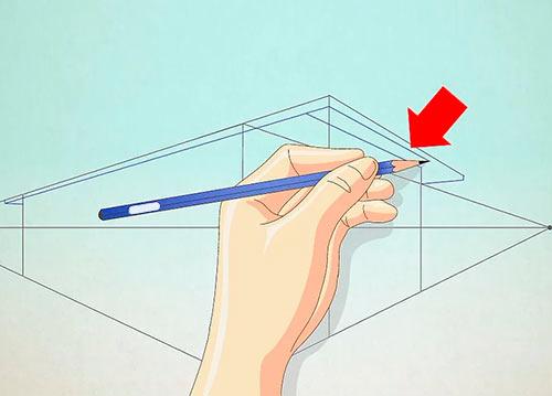 Рисуем объемный дом - Шаг 6 - Дорисуйте крышу