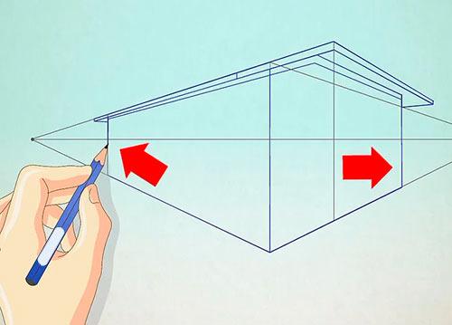 Рисуем объемный дом - Шаг 7 - прорисуйте контуры дома