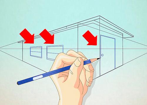 Рисуем объемный дом - Шаг 8 - обозначьте двери и окна