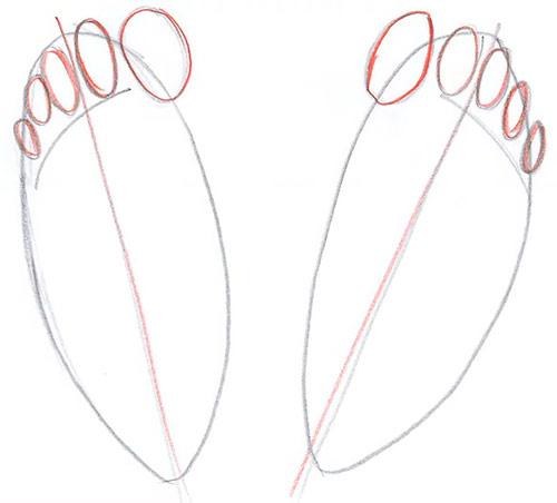 Рисуем две ступни - вид сверху - Шаг 3