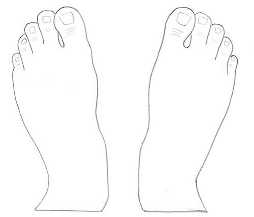 Рисуем две ступни - вид сверху - Шаг 7